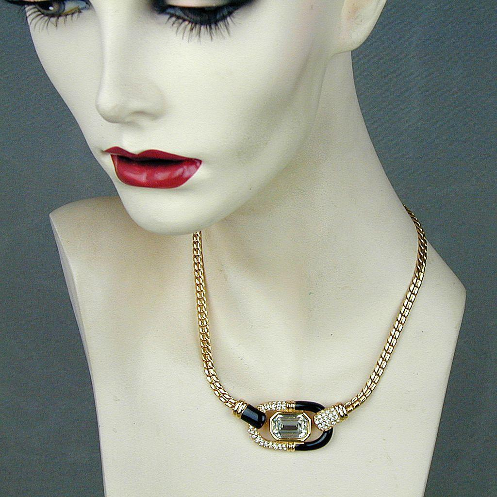 Vintage Swarovski Gold-Tone Crystal Rhinestone Necklace - So Elegant