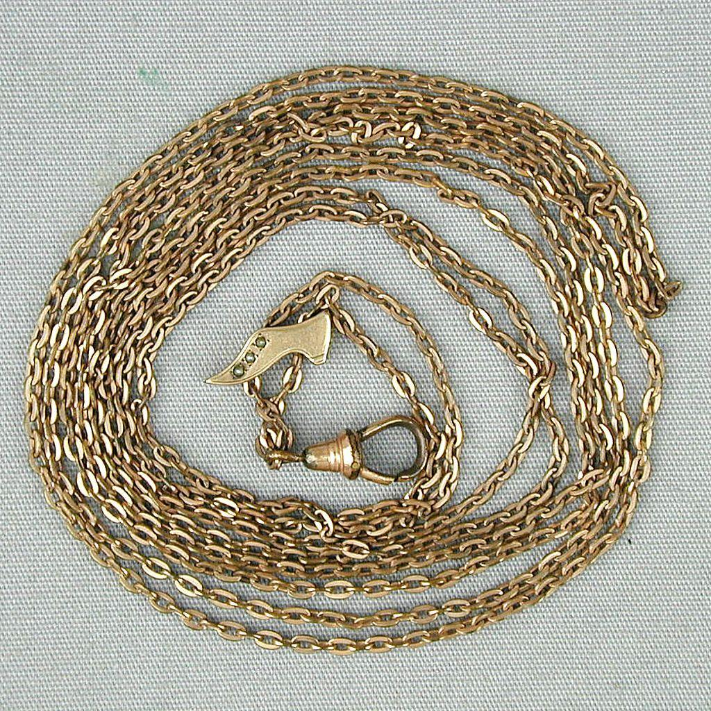 Victorian Gold-Filled Watch Locket Chain w/ 10K Gold Shoe Slipper Slide