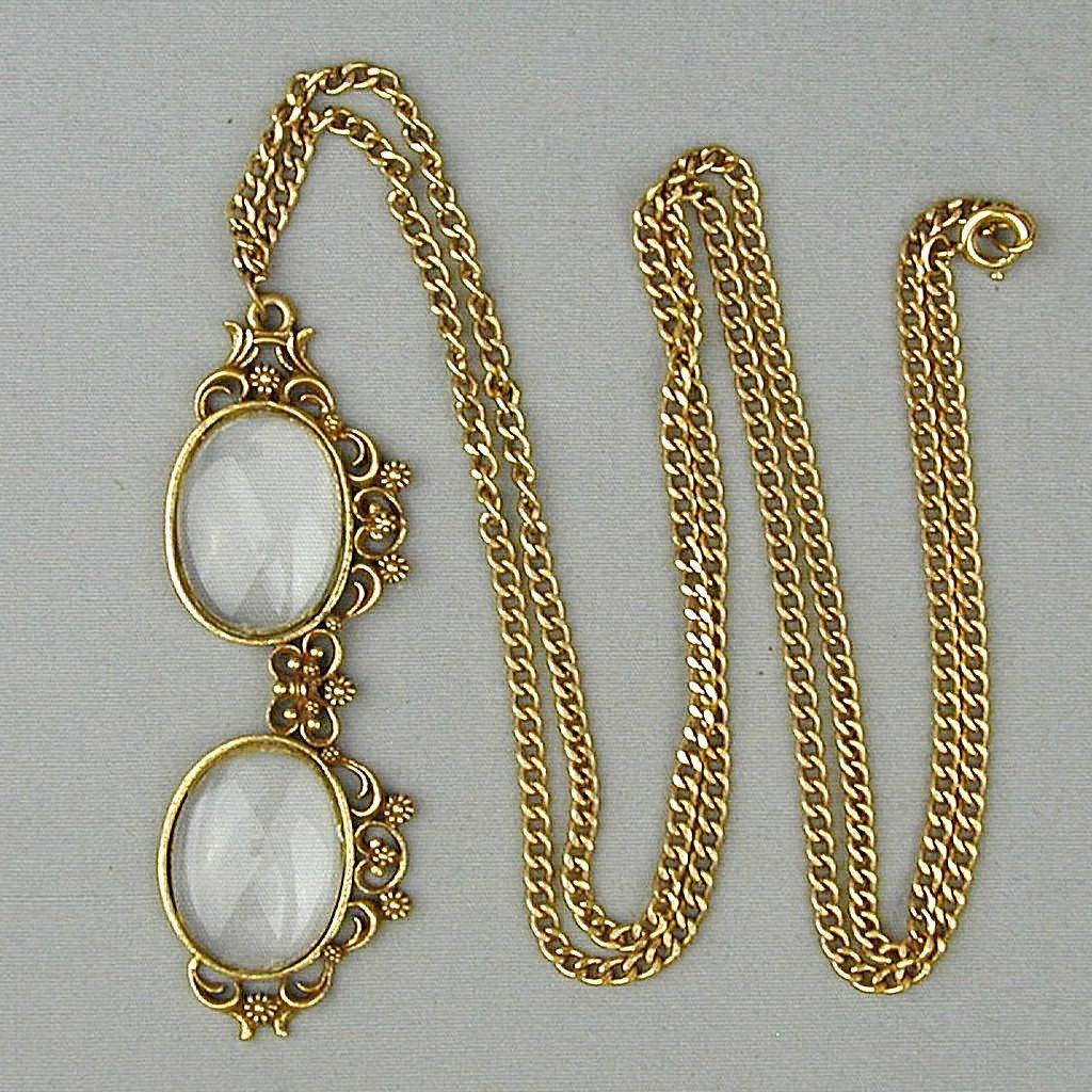 Vintage Spectacles Mock Eyeglasses Pendant Necklace