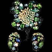 Vintage 1940s Rhinestone Flower Pin - Earrings Set - Amazing Work