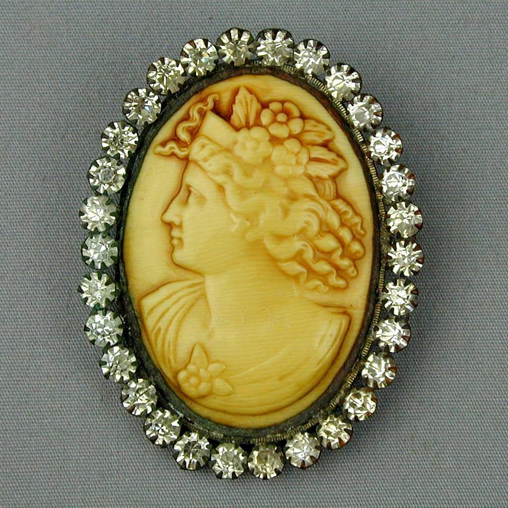 Old Victorian Large Celluloid Cameo Girl Pin w/ Paste Rhinestone Frame