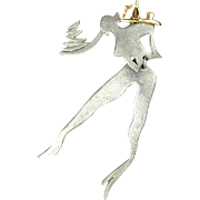 Vintage Large Cocktail Waitress Server Pin Signed ULTRA CRAFT She Moves