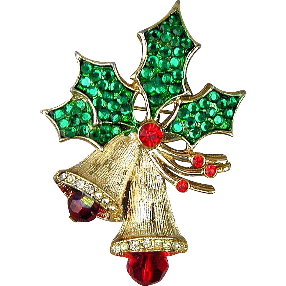 Vintage weiss rhinestone christmas bell pin the bells