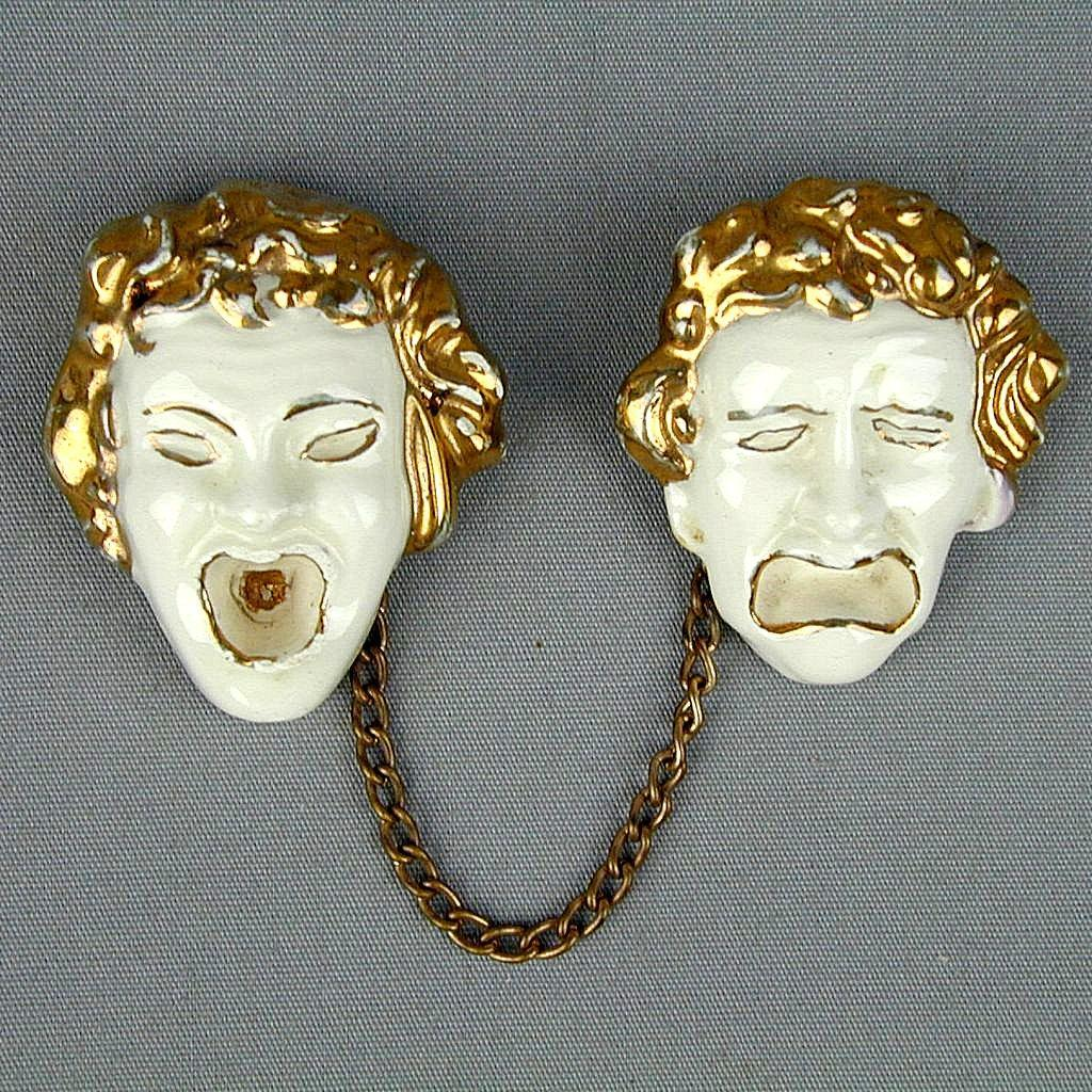 Vintage 1950s Comedy Tragedy Porcelain Face Mask Pins - Chained