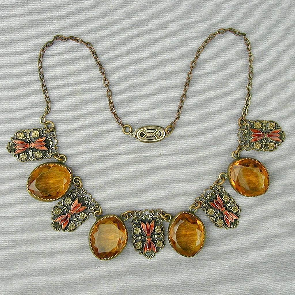 Art Deco 1930s Czech Amber Glass w/ Enamel Necklace