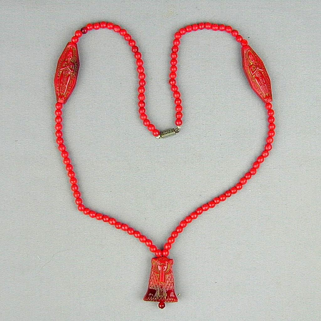 Vintage 1920s Czech Red Glass Bead Egyptian Motif Necklace