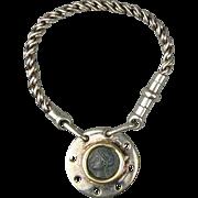 Vintage Italian 18K Gold - 925 Sterling Silver Keychain Fob