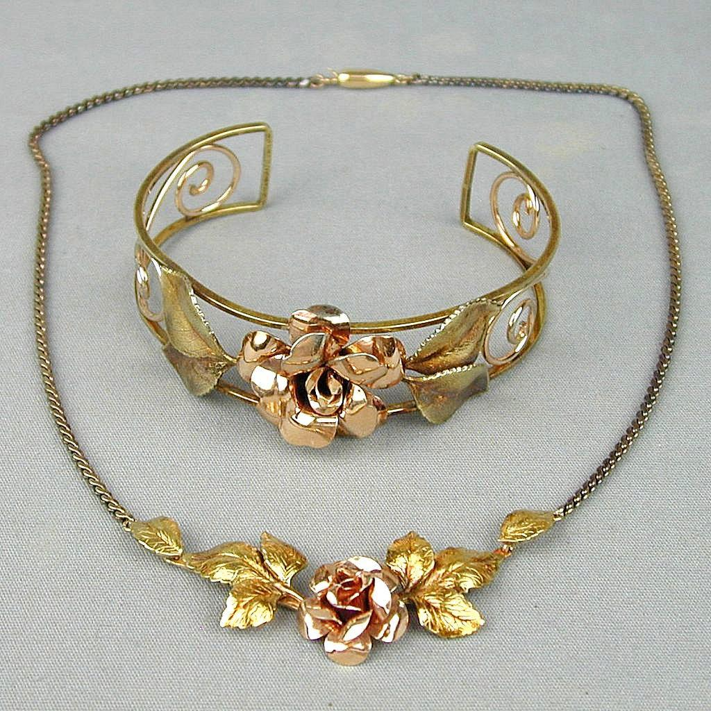 Art Deco Era Krementz Necklace Bracelet Floral Gilt Set