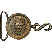 Antique Victorian MEDUSA Metal Belt Buckle - Snakes