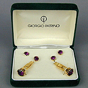 Vintage Designer Cufflinks Studs Set in Box Giorgio Patrino Jeweled