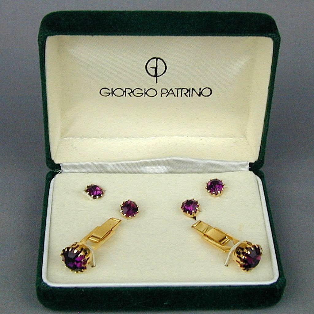 Vintage Designer Cufflinks Studs Set in Box Giorgio Patrino Jeweled