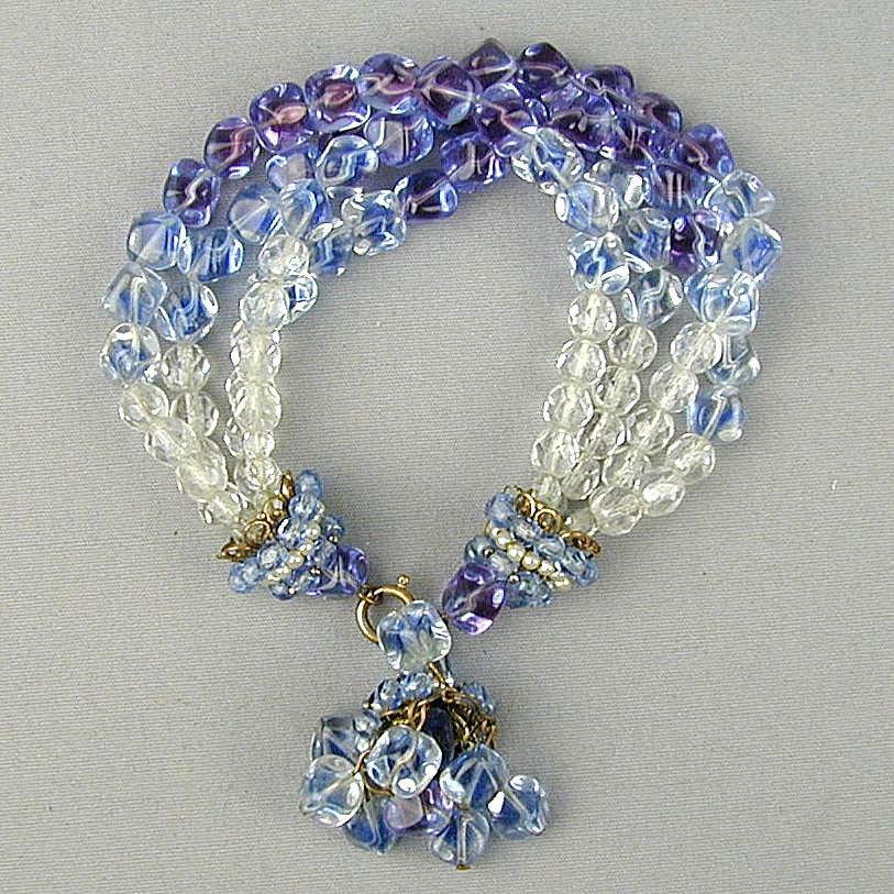 Vintage Crystal Glass Bead Bracelet w/ Dome Ends - Dangle