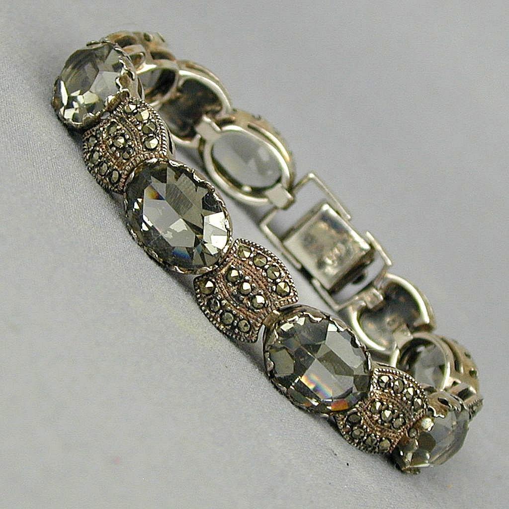 Vintage Sterling Silver Marcasite - Smoky Crystal Bracelet - A Hefty Beauty