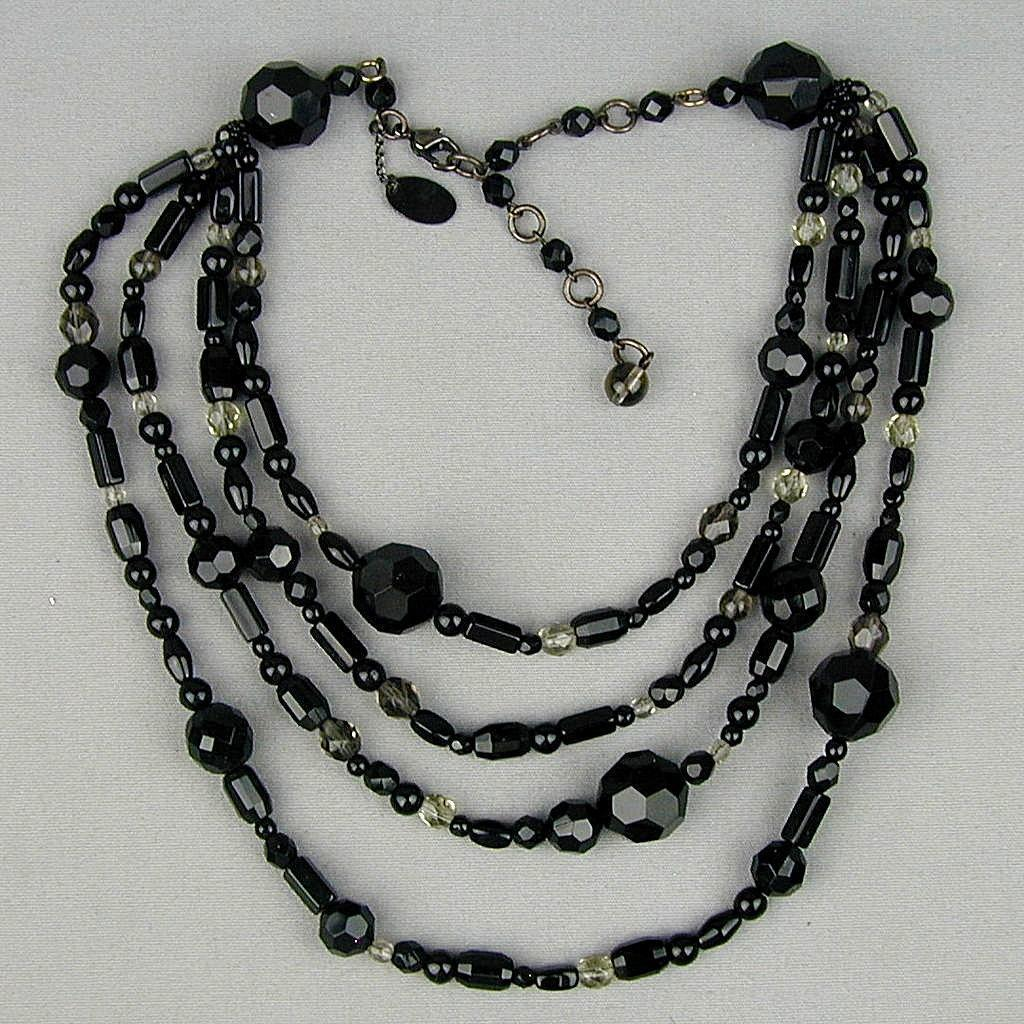 Designer Erickson Beamon Jet Black Four-Strand Bead Necklace
