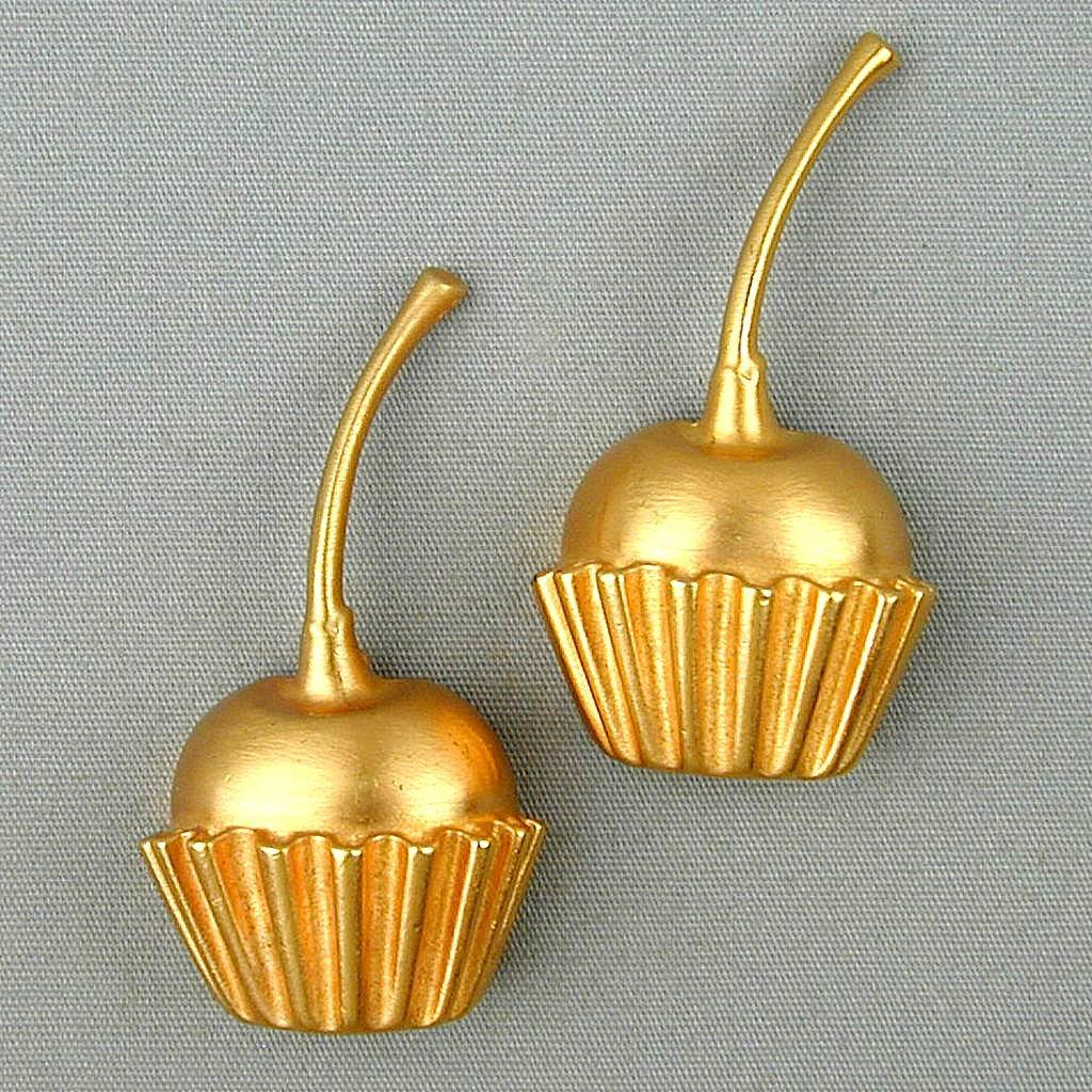 Pair Vintage Piscitelli Cherry Cupcake Pins Brooch