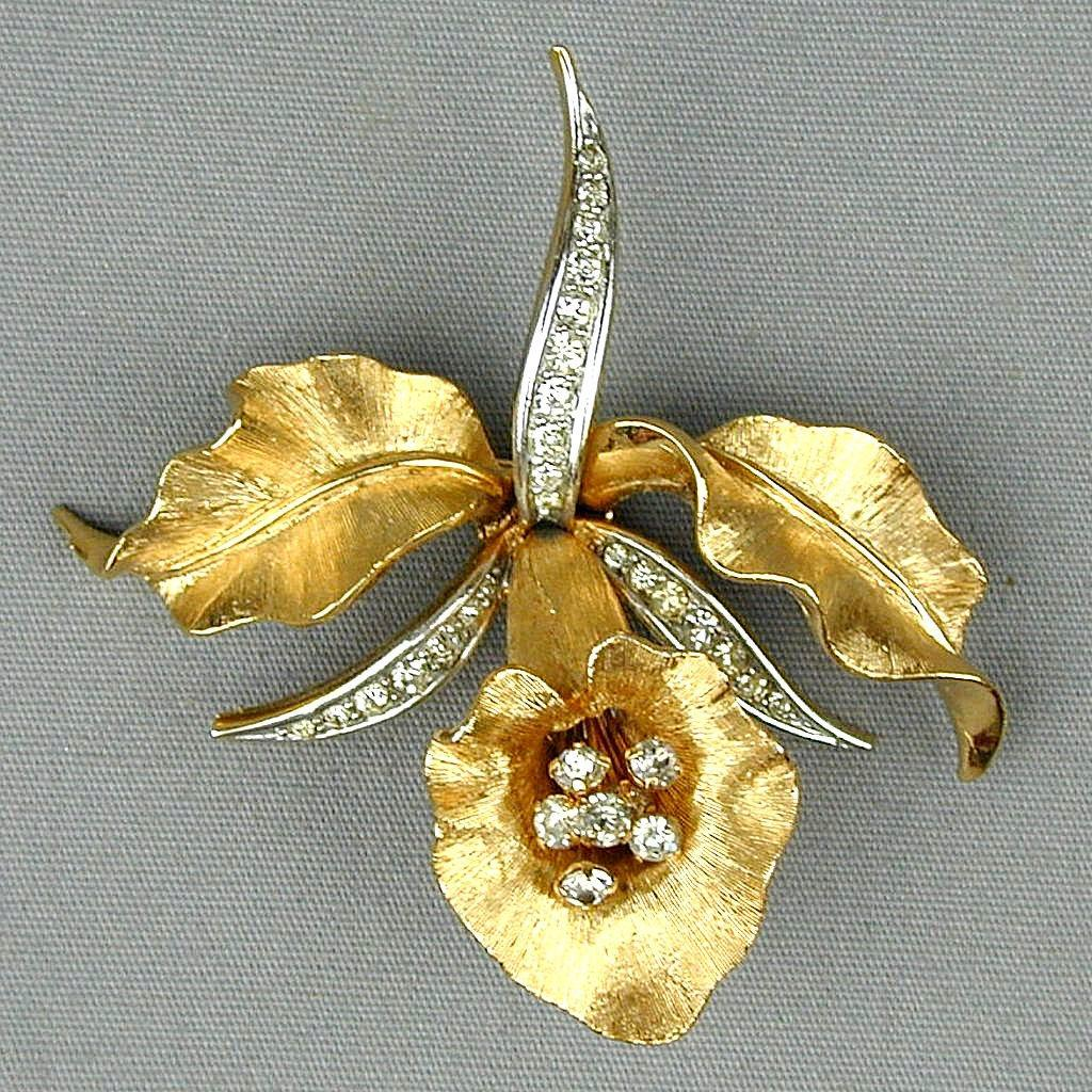Vintage Boucher Signed Numbered Rhinestone Orchid Pin Brooch