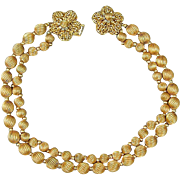 Vintage Robert DeMario Gilt Bead Necklace w/ Beaded Flower Clasp