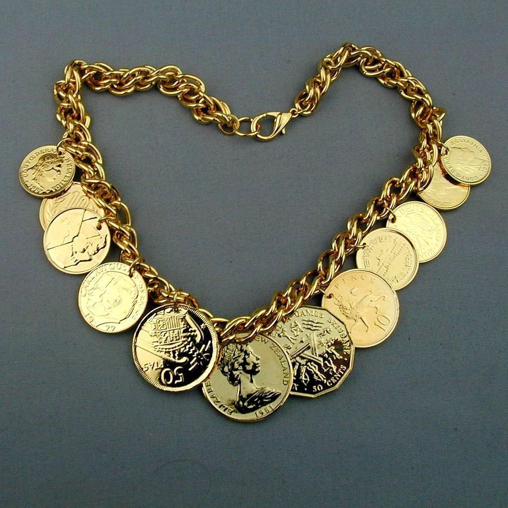 Vintage Faux Gold Coin Charm Necklace American Airlines International
