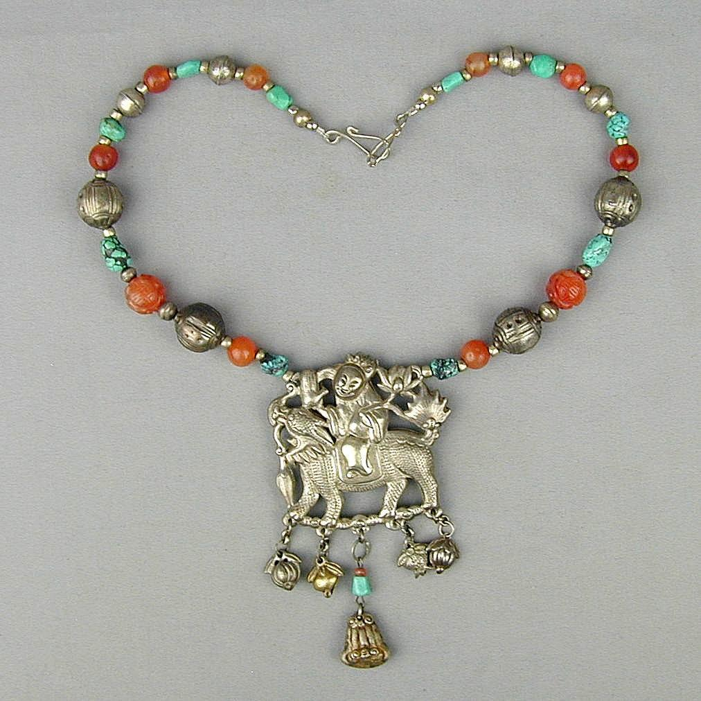 Antique Chinese Silver Qilin w/ Beads Pendant Necklace Amulet