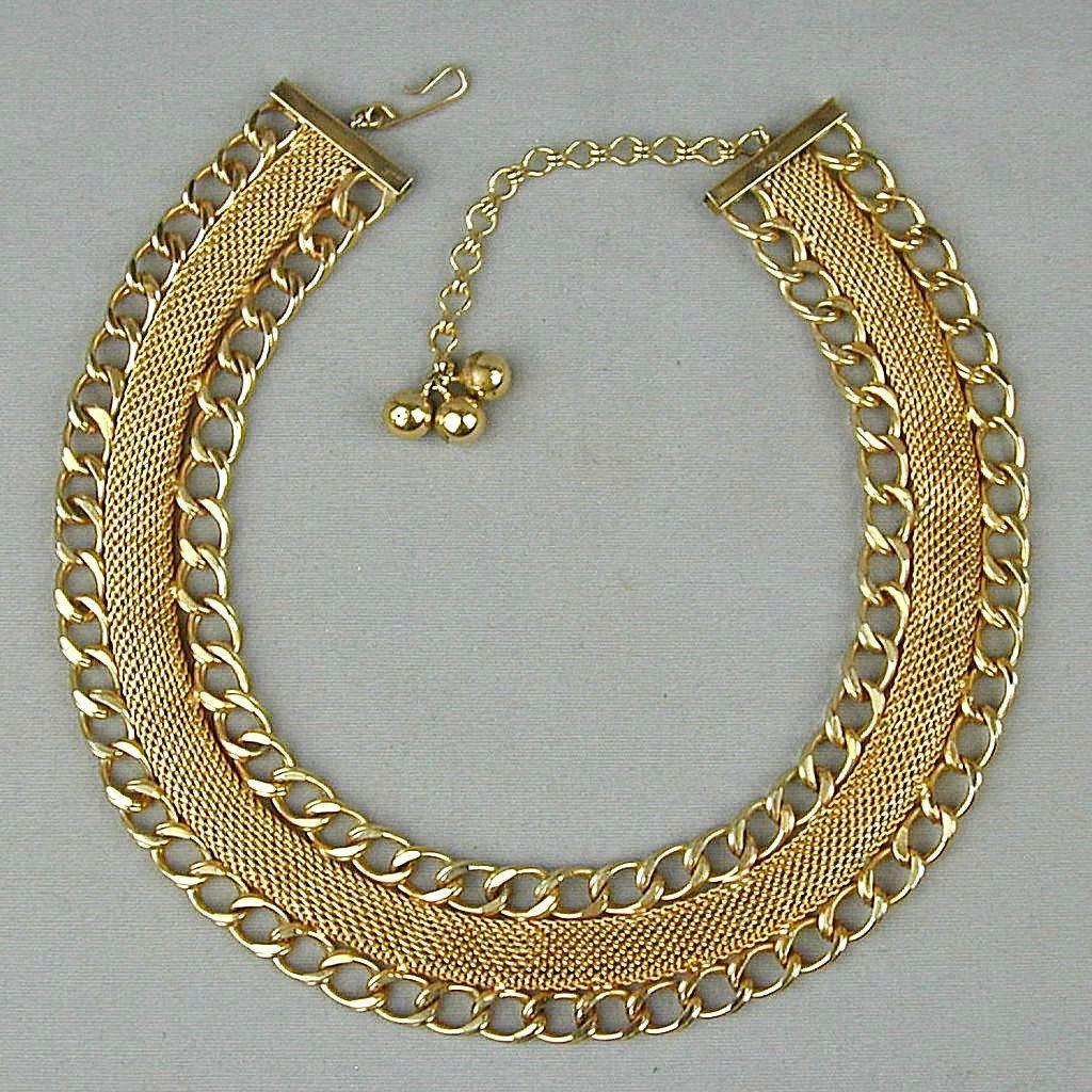 HOBE Vintage Golden Mesh Link Collar Necklace