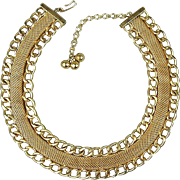 HOBE Vintage Golden Mesh Link Collar Necklace