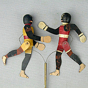 Antique 1915 Black Americana Dancing Boxers Toy for Talking Machine