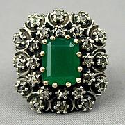 Victorian Sterling 14K Gold Ring 2 ct. Emerald w/ 24 Rose Cut Diamonds