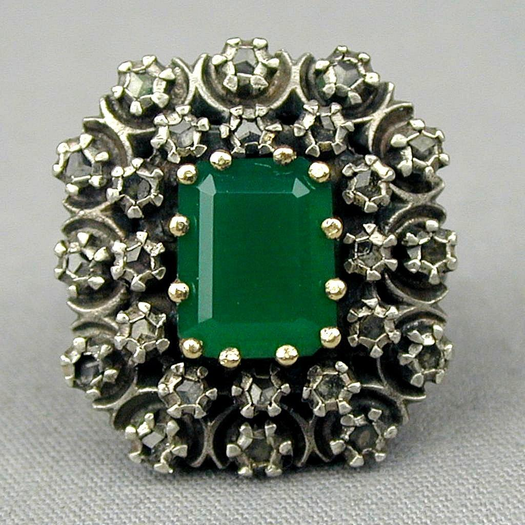 Victorian Sterling 14K Gold Ring 2 ct. Emerald w/ 24 Rose Cut Diamonds
