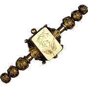 Old Victorian Gold-Filled Ornate Bar Pin Brooch - Etched Beaded