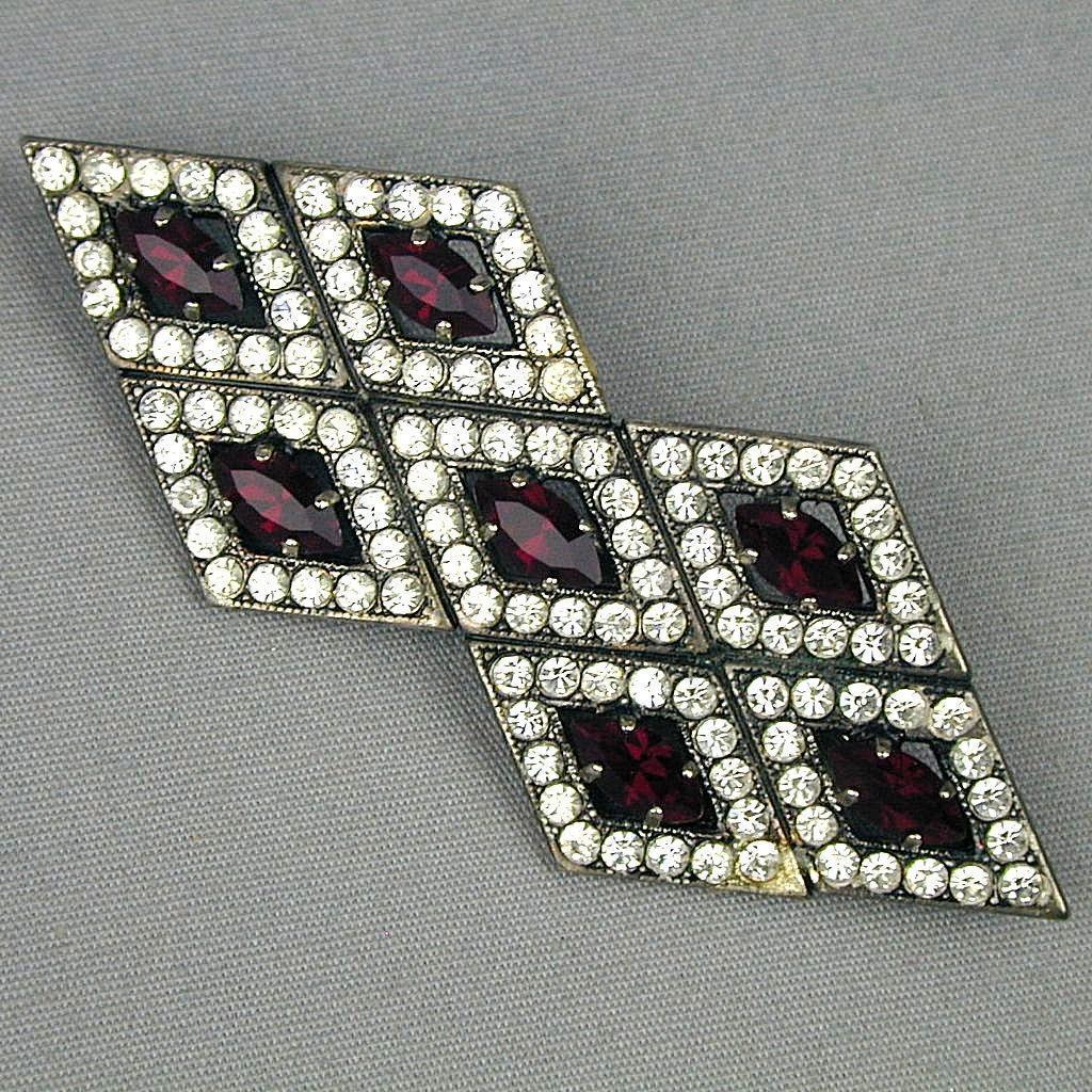 Vintage Rhinestone Pin Diamond Shapes w/ Faux Diamonds & Rubies Brooch