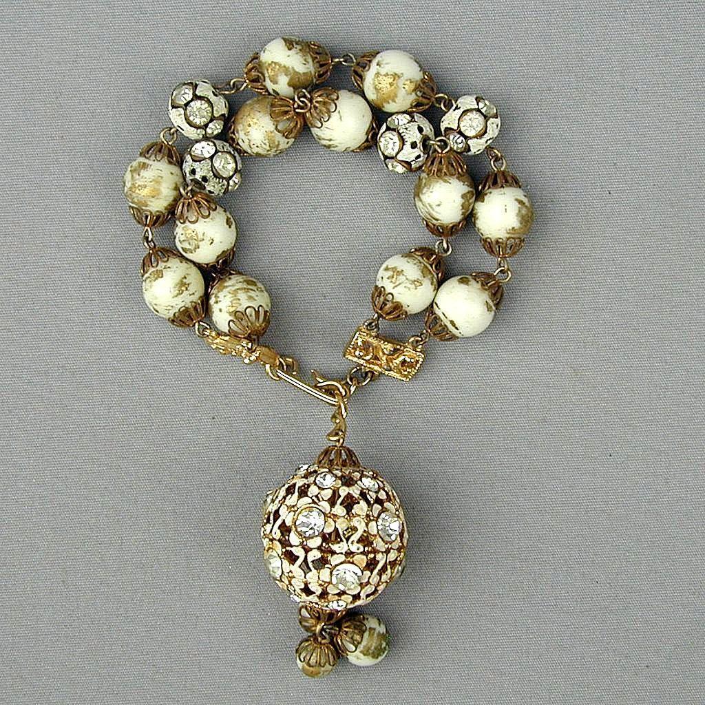 Vintage HOBE Gilded Rhinestone Balls Bracelet