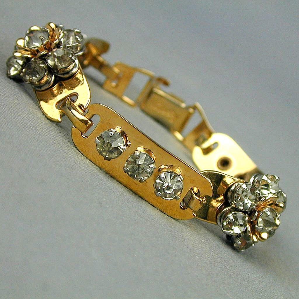 Signed BARCLAY Rhinestone Bracelet c1940s