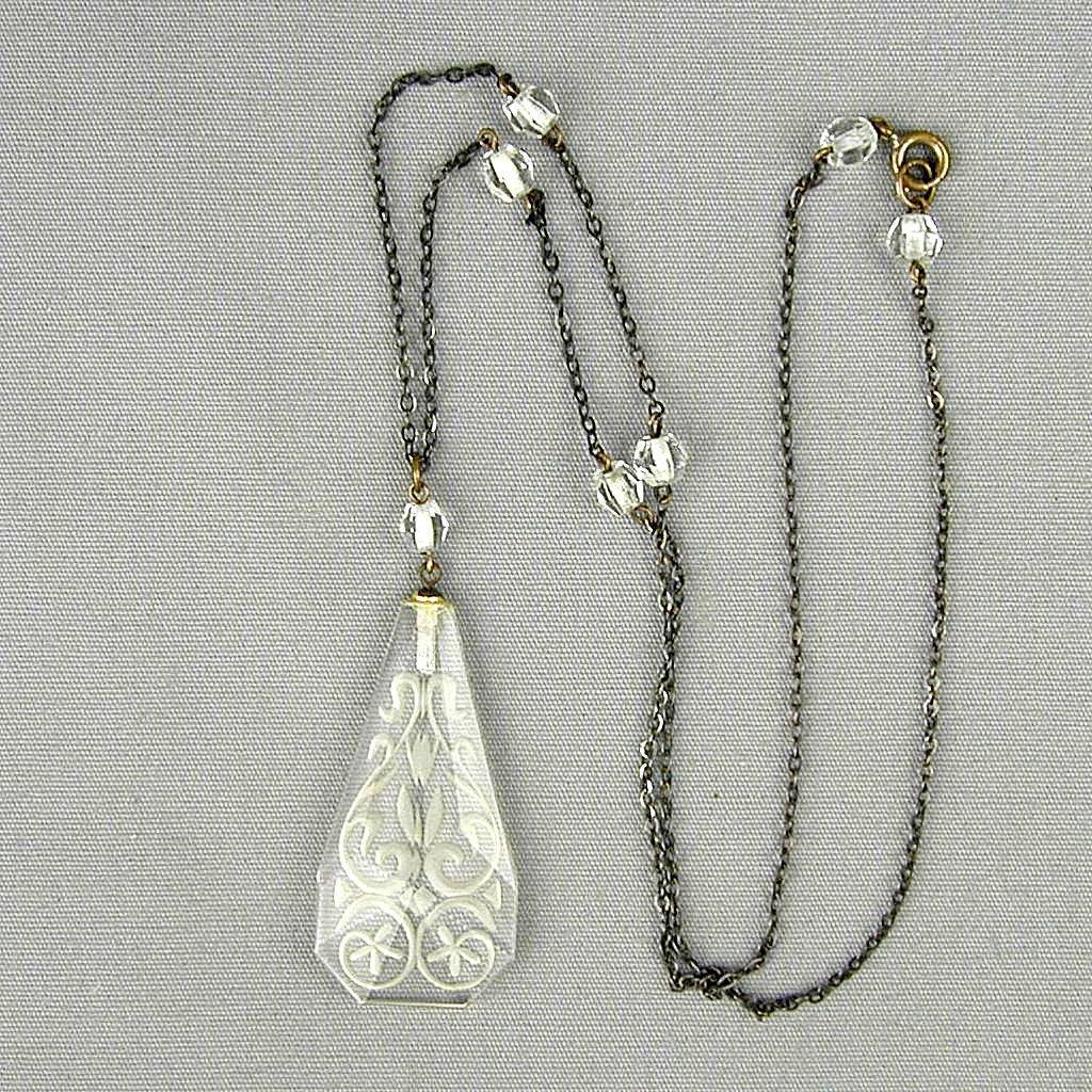 Art Deco Czech Etched Crystal Pendant on Sterling Silver Necklace Chain