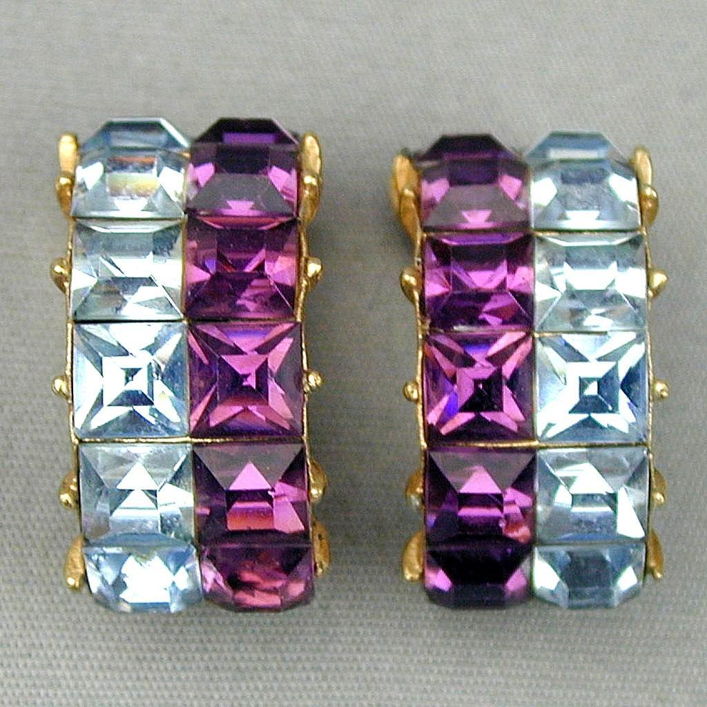 Kramer of N.Y. Bold Two-Color Clip Rhinestone Earrings