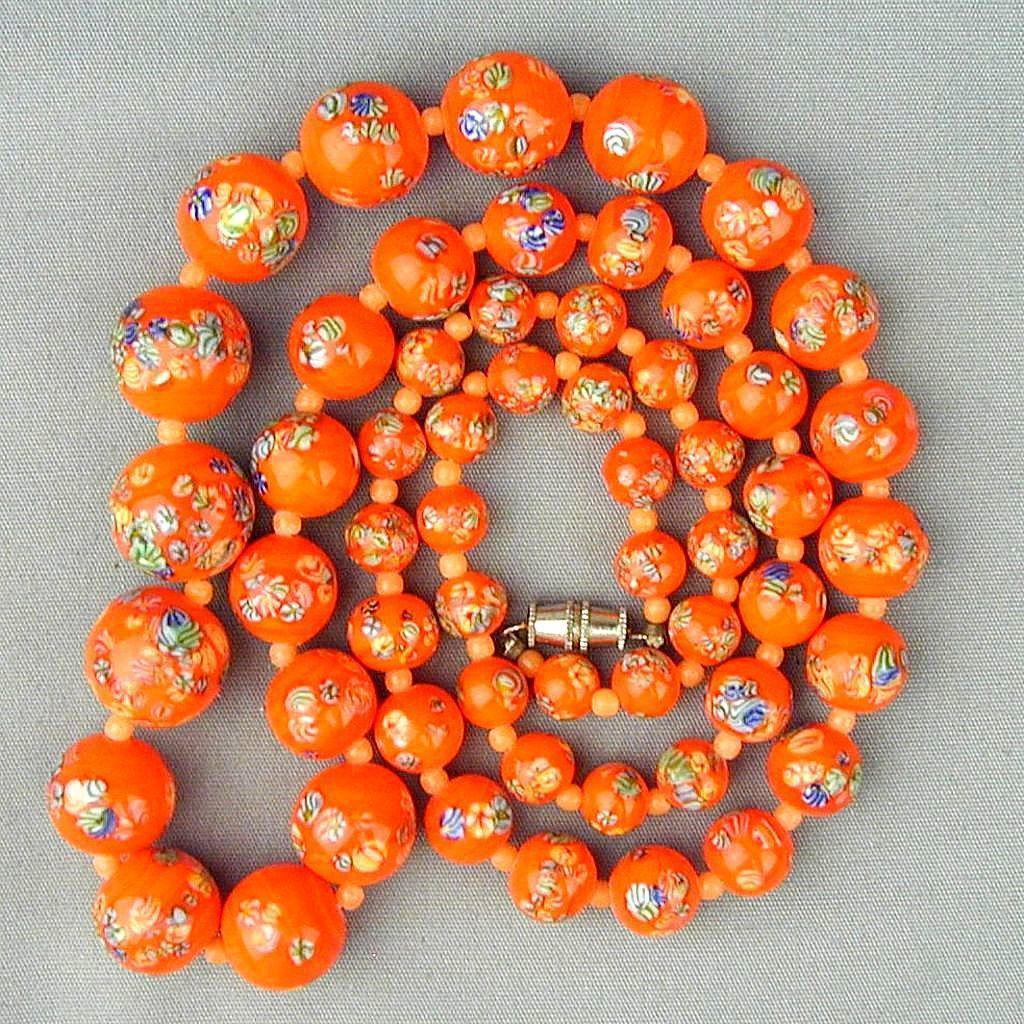 Vintage 1950s VOGUE Painted Glass Bead Necklace & Earrings Set