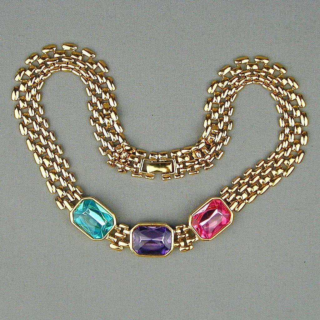 Vintage TRIFARI Multi Color Rhinestone Necklace