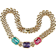 Vintage TRIFARI Multi Color Rhinestone Necklace