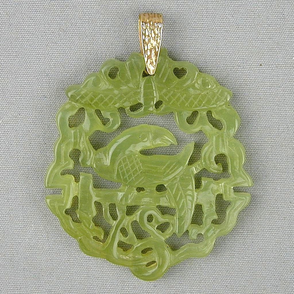 Old Chinese Carved Jade Jadeite Bird Pendant w/ 14K Gold