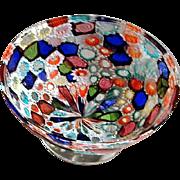 Vintage Murano Millefiori Mosaic Italian Art Glass Bowl