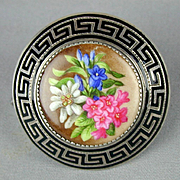 Victorian Sterling Silver Hand-Painted Floral Pin - Enamel Frame