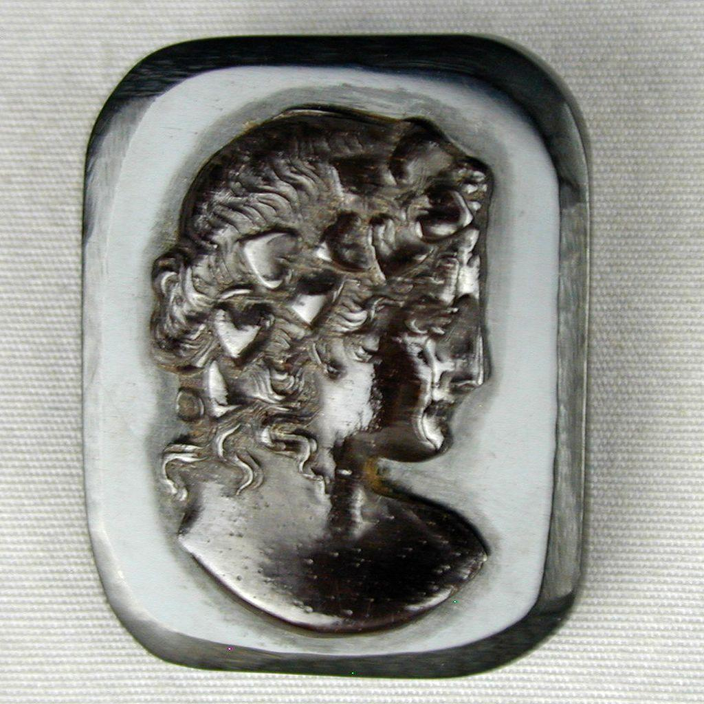 Old Black Bakelite Cameo Pin Brooch - Victorian Style Lady