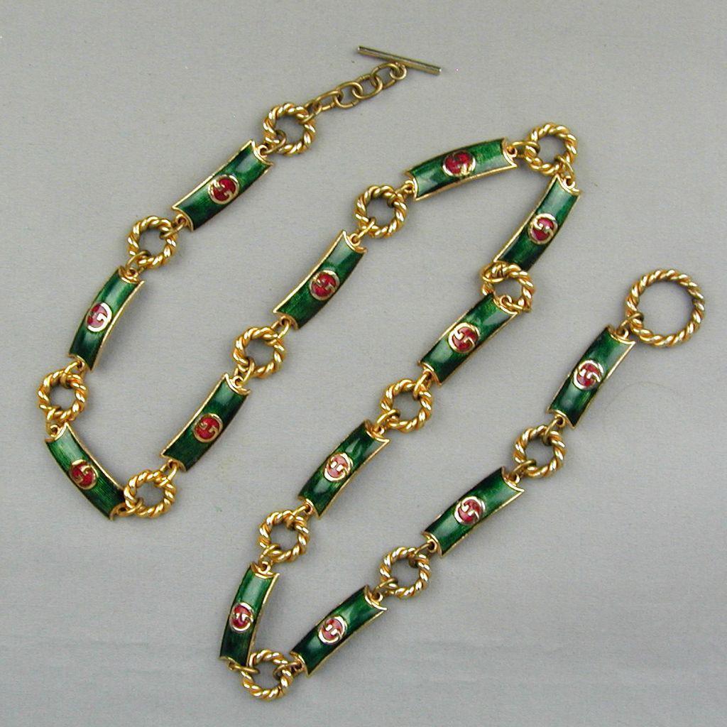 Signed Gucci Enamel Gilt Link Belt - Necklace c1970 - Double ~G~ Logo