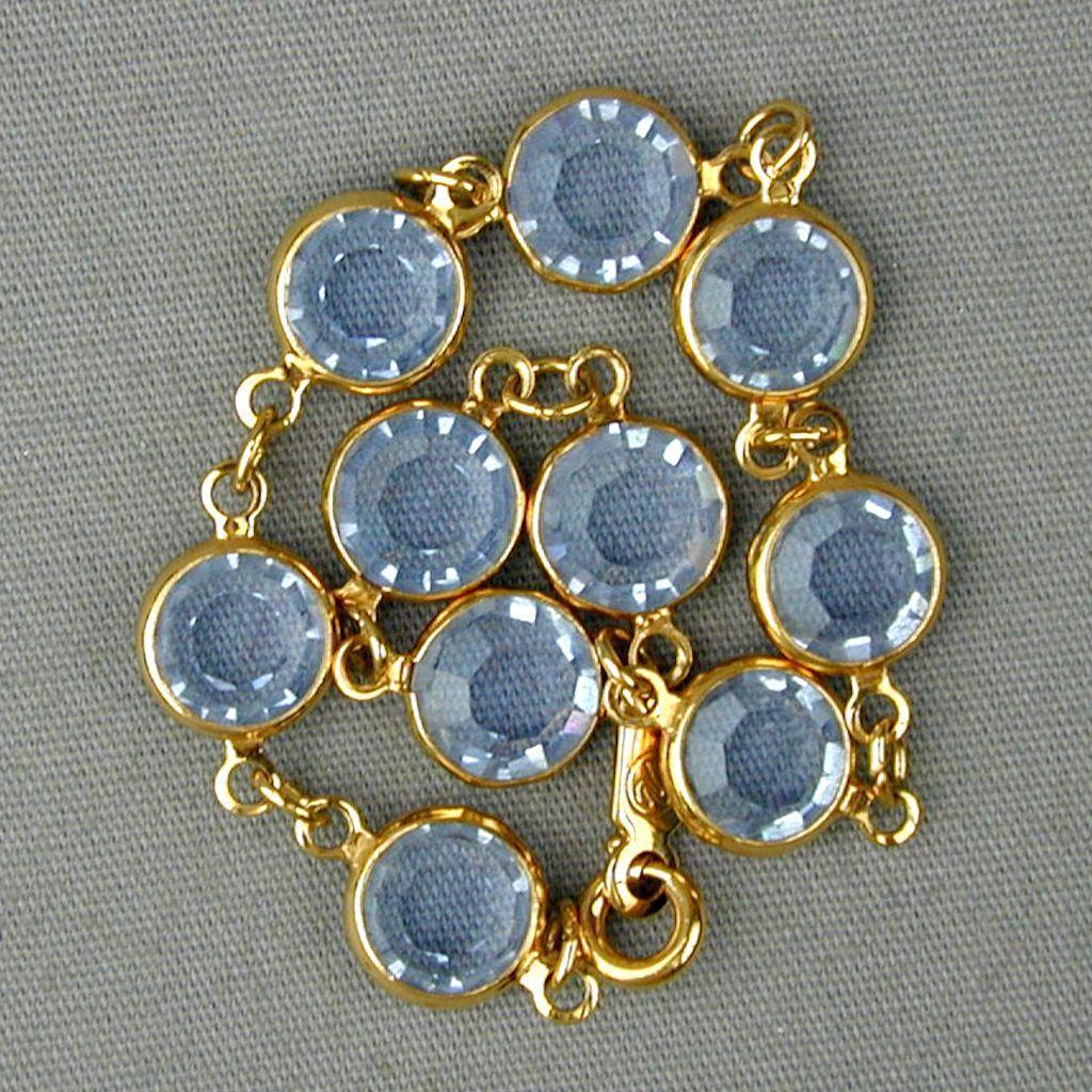 Vintage Swarovski Crystal Links Bracelet - Baby Blue