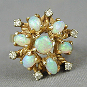 Vintage 14K Gold Fiery Opal Ring