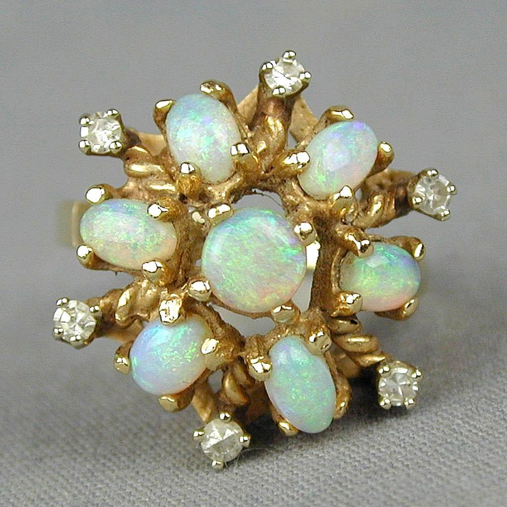 vintage 14k gold fiery opal ring from greatvintagestuff on