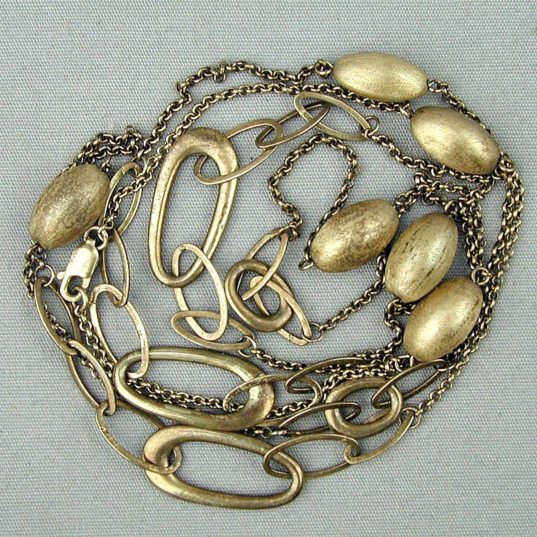 Nice Long 41 Inch Gilded Sterling Silver Chain Necklace w/ Oval Balls