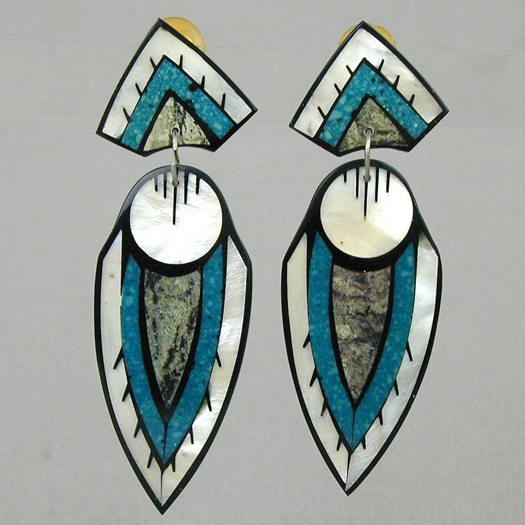 1970s Lucite Art Deco Motif Long Clip Earrings