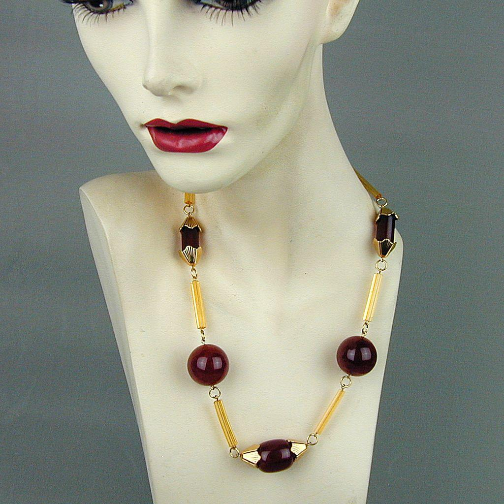 Modernist Gold-Tone Lucite Necklace Faux Amber Good Design
