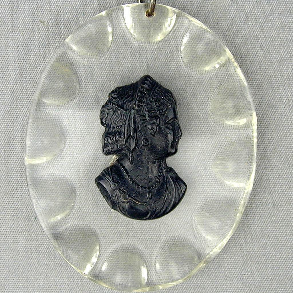 Art Deco Era Large Lucite & Bakelite CAMEO Lady Pendant Necklace