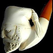 Vintage Carved Meerschaum Pipe w/ Bakelite Stem - Serious Sultan